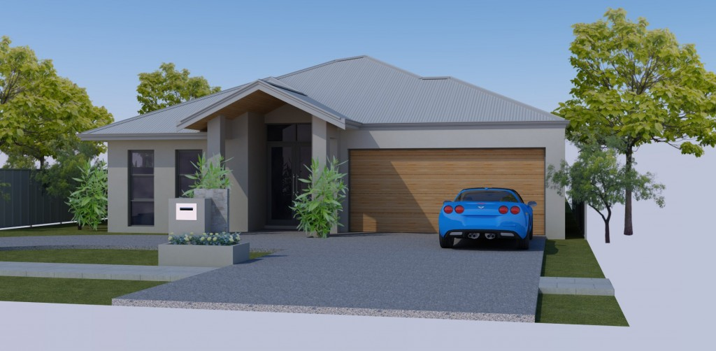 Artistic Render by Solar Dwellings of our Passive Solar House in Perth.