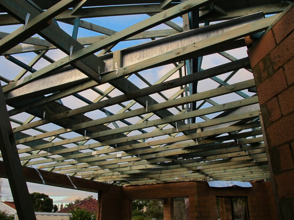 Roof timbers, open plan