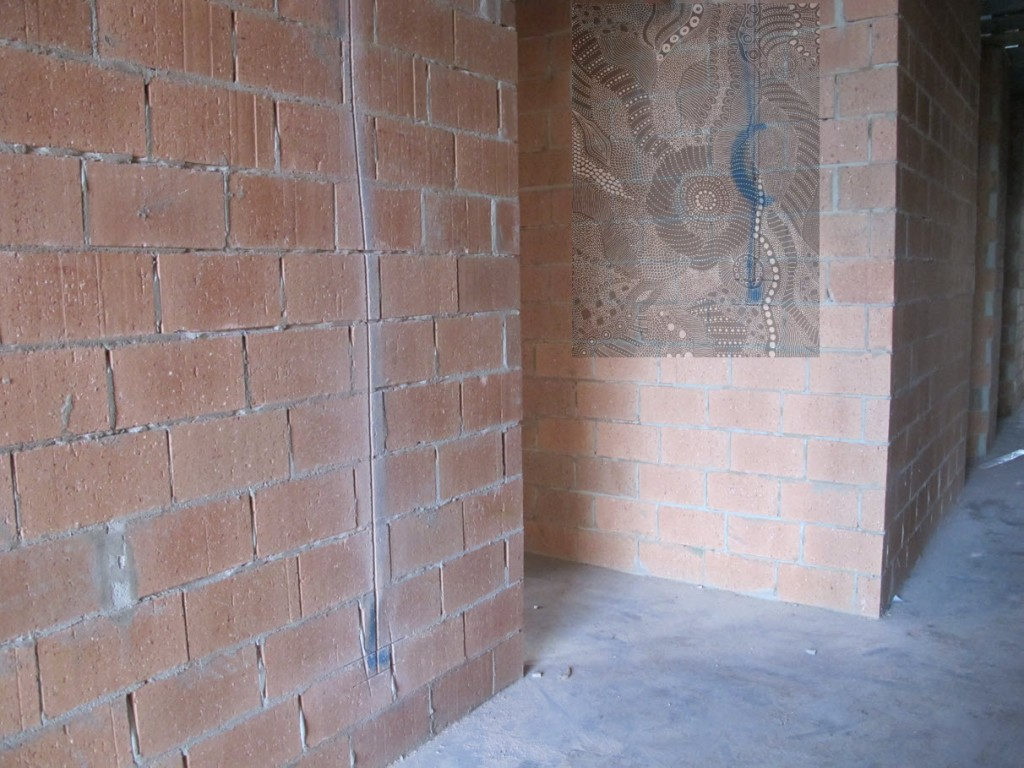 Electrical tubing - guest wing hallway wall with an artwork image superimposed