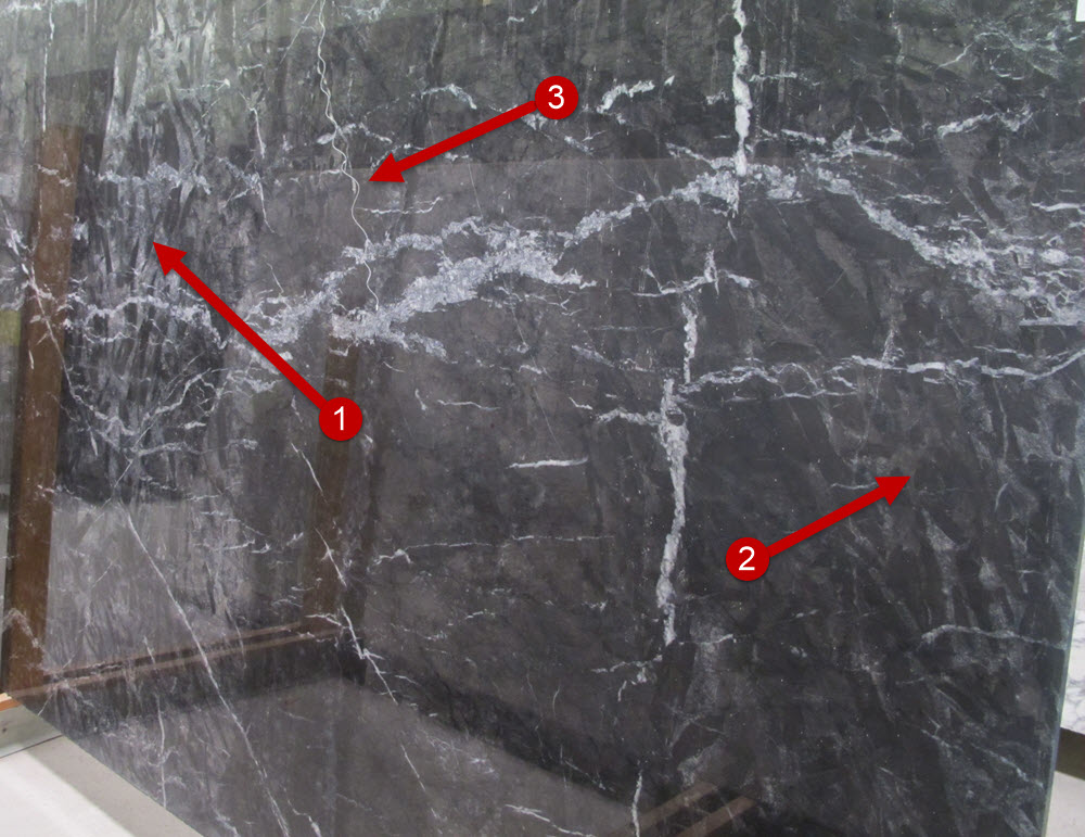 Inclusions to look for when choosing a marble slab such as Grigio Carnico