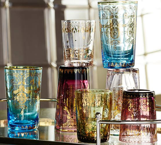 Beautiful glassware - Eco Home Style - Morrocan glasses (Source: Pottery Barn)