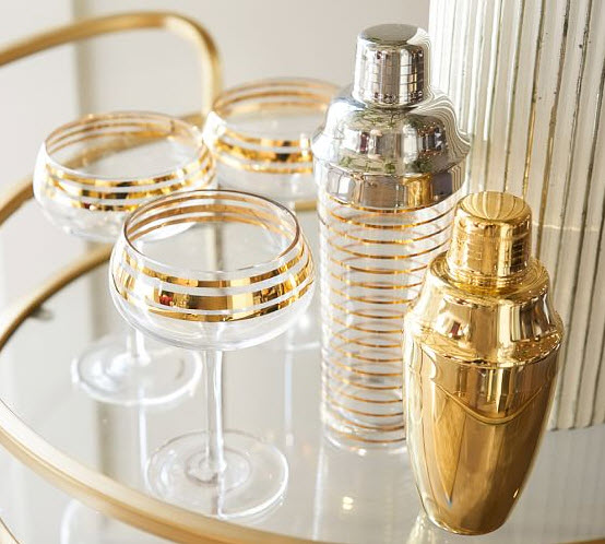 Beautiful glassware - Eco Home Style - Gold Stripe Cocktail Coupe with matching cocktail shaker (Source: Pottery Barn)